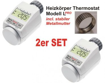 Komfort Heizkoerperthermostat Model L 'PRO' mit Boost Funktion - 2er Set +++ incl. stabiler Metallmutter !!