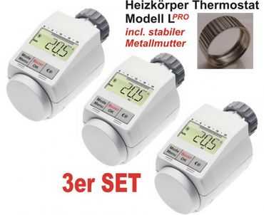 Komfort Heizkoerperthermostat Model L 'PRO' mit Boost Funktion - 3er Set +++ incl. stabiler Metallmutter !!