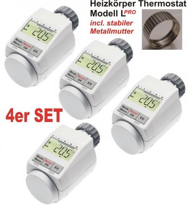 Komfort Heizkoerperthermostat Model L 'PRO' mit Boost Funktion - 4er Set +++ incl. stabiler Metallmutter !!
