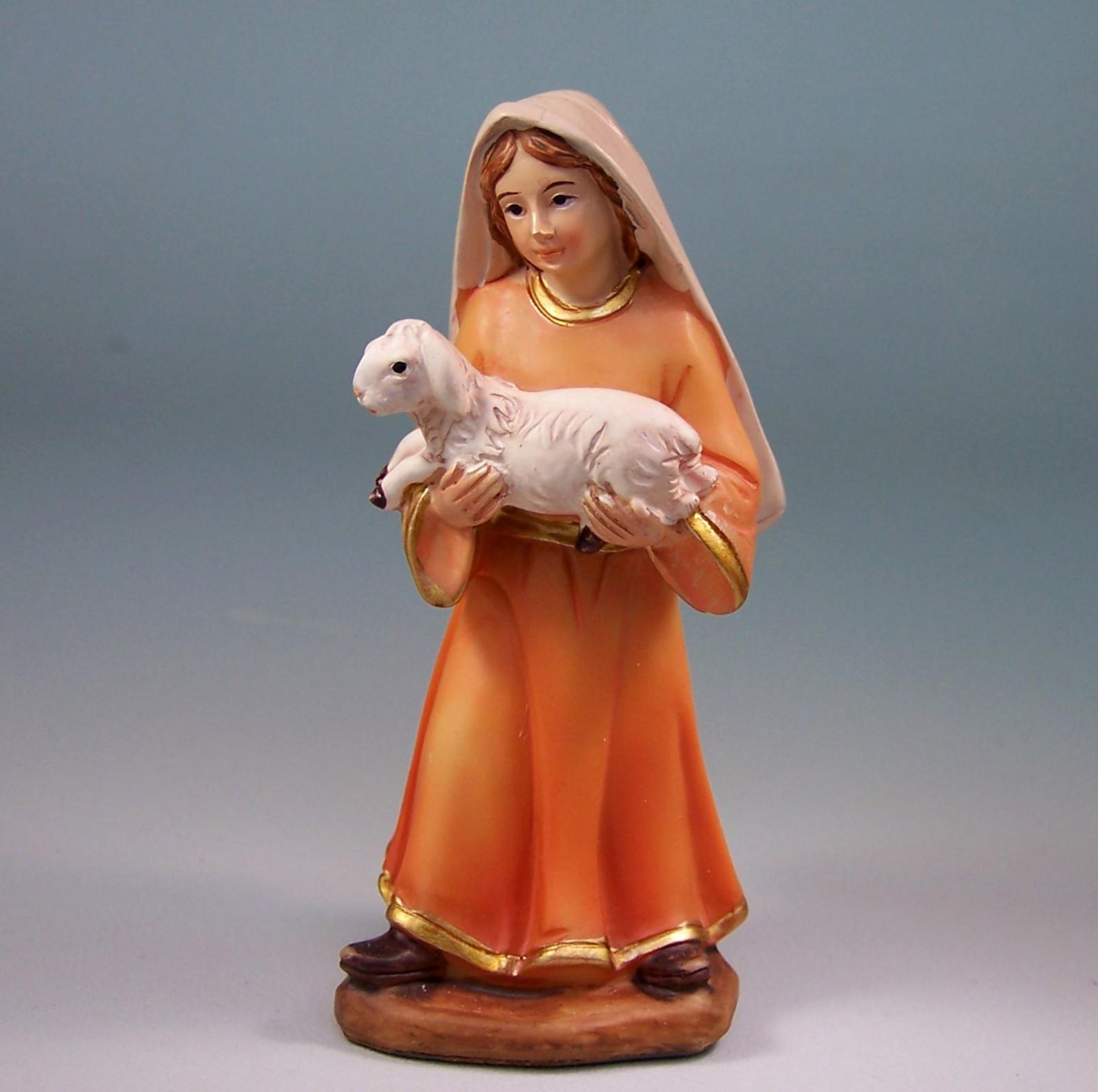Krippenfigur aus Polyresin handbemalt Hirte mit Schaf Für 9 cm.