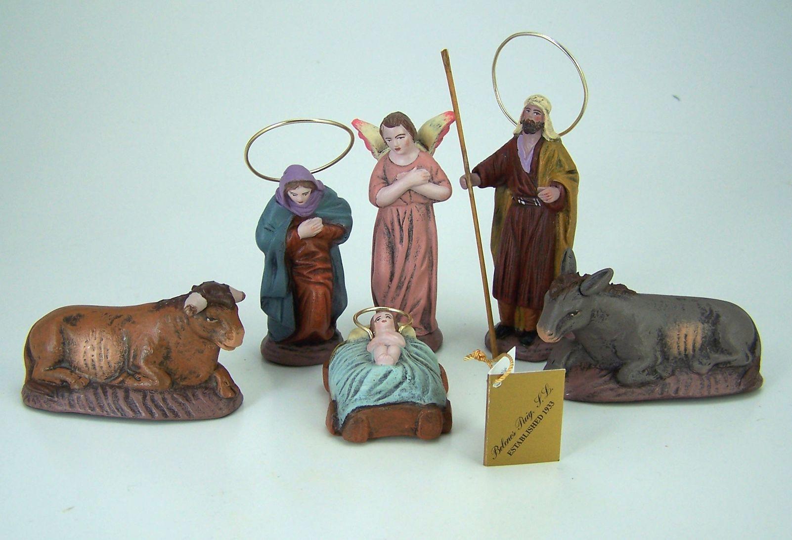 Puig Krippenfiguren aus Spanien Hl. Familie 6tlg. 8 cm. Aus Ton ...