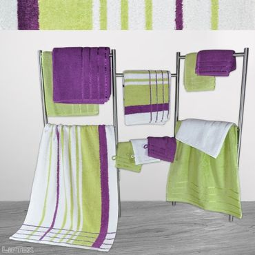 ABVERKAUF !! HANDTUCH Serie 470g limone Streifen Design Duschtuch, Handtuch