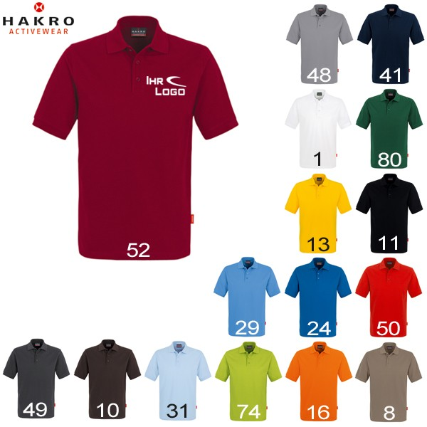 HAKRO Polo-Shirt performance, 200g, men, bestickt mit Logo/Motiv – Bild 1