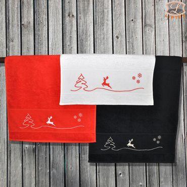 Handtuch oder Duschtuch bestickt mit Weihnachtsmotiv