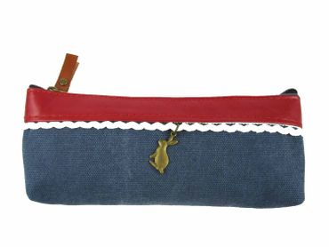 Bag With Rabbit Miniblings Make Up Bag Pencil Case Pencil Case Blue Border – Bild 1