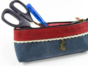 Bag With Rabbit Miniblings Make Up Bag Pencil Case Pencil Case Blue Border – Bild 2