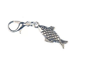 Fish Ceckered Charm Pendant Miniblings Trout Silver – Bild 2