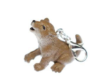 Wolf Cub Charm Zipper Pull Pendant Miniblings Puppy Wolf Hound Rubber Brown – Bild 1