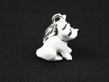 Terrier Hund Charm Zipper Pull Anhänger Miniblings Hündchen emailliert weiß – Bild 1