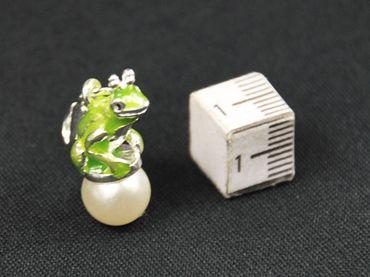 Froschkönig Charm Zipper Pull Anhänger Miniblings Frosch Krone Perle emailliert – Bild 2