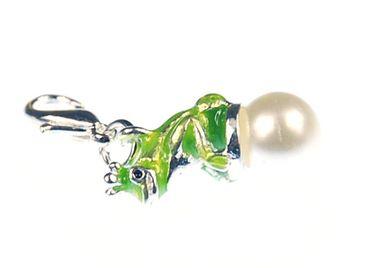 Frog Prince Charm Zipper Pull Pendant Miniblings Frog Crown Pearl Enameled – Bild 3