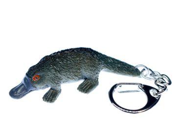 Schnabeltier Schlüsselanhänger Miniblings Schlüsselring Platypus grau 60mm Gummi – Bild 1
