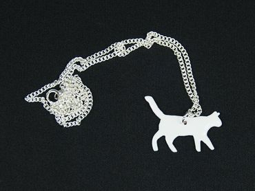 Cat Necklace Miniblings 45cm Cats Enamel Enameled Filigree White – Bild 2