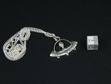 Ufo Necklace Miniblings 45cm Alien Universe Sci-Fi Silver – Bild 3