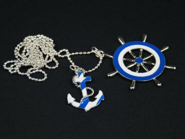 Set Of 2 Anchor Lifebelt Necklace Miniblings 80cm Maritim Blue White Enamel – Bild 1