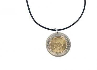 Turkish Lira Turkey Necklace Miniblings 60cm Leather Necklace Coin Golden Int – Bild 1