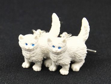 Cat Earrings Miniblings Persian Cats Longhair Cat Rubber White – Bild 3