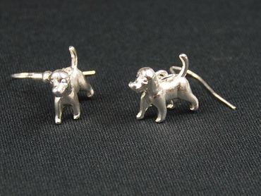 Jagdhund Hund Ohrringe Ohrhänger Miniblings Hunde Hündchen Schlappohren silber – Bild 4