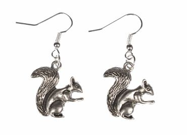 Squirrel Earrings Miniblings Gray Squirrel Spring Easter Silver – Bild 1