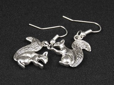 Squirrel Earrings Miniblings Gray Squirrel Spring Easter Silver – Bild 3