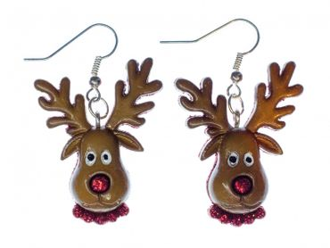 Reindeer Earrings Miniblings Christmas Rudolph Deer Head Brown Red Nose – Bild 1
