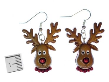 Reindeer Earrings Miniblings Christmas Rudolph Deer Head Brown Red Nose – Bild 2