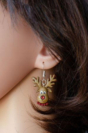Reindeer Earrings Miniblings Christmas Rudolph Deer Head Brown Red Nose – Bild 3