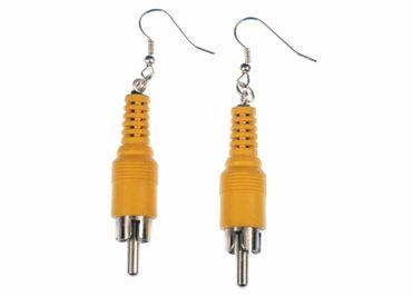 RCA Jac Cinch Plug Earrings Miniblings Upcycling Plug Audio Music Yellow