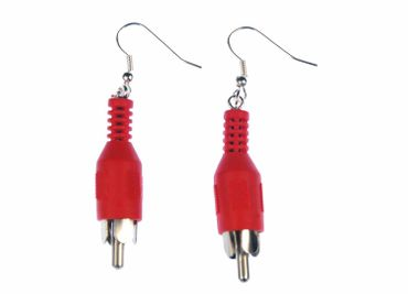 RCA Jac Cinch Plug Earrings Miniblings Upcycling Plug Audio Music Red – Bild 1