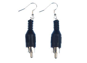 RCA Jac Cinch Plug Earrings Miniblings Upcycling Plug Audio Music Black – Bild 2