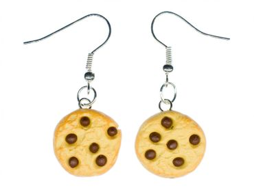 Biscuit Chocolate Chips Earrings Miniblings Christmas Cookie Handmade – Bild 1