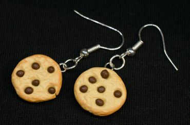 Biscuit Chocolate Chips Earrings Miniblings Christmas Cookie Handmade – Bild 3