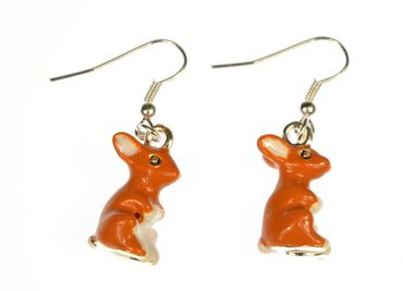 Bunny Earrings Miniblings Easter Rabbit Enameled Brown White – Bild 3