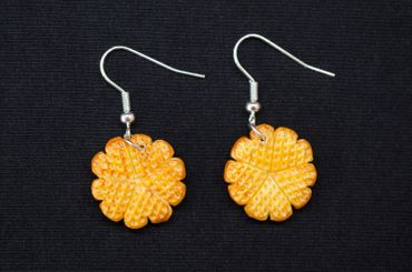 Waffle Earrings Miniblings Heart Waffle Cookies From Granma's Days Bright – Bild 1