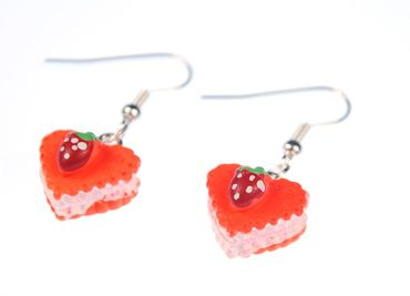 Gingerbread Heart Earrings Miniblings Heart Tart Orange With Strawberry – Bild 1