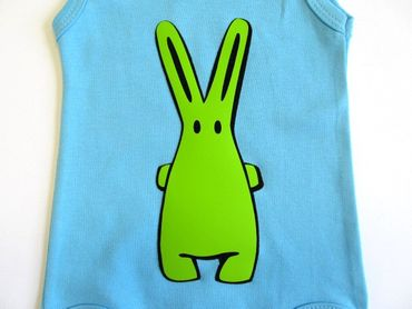 Baby Child Children One-Piece Rompers Oncie Kalle Fux Hand Printed Turquoise Hase Green Size68 – Bild 3