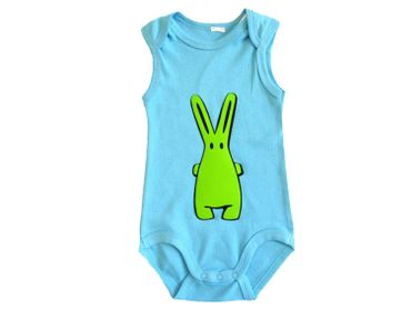 Baby Child Children One-Piece Rompers Oncie Kalle Fux Hand Printed Turquoise Hase Green Size68 – Bild 2