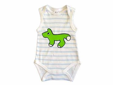 Baby Child Children One-Piece Rompers Oncie Kalle Fux Hand Printed White Blue Animal Fox Green Size62