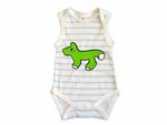 Baby Child Children One-Piece Rompers Oncie Kalle Fux Hand Printed White Blue Animal Fox Green Size62 001