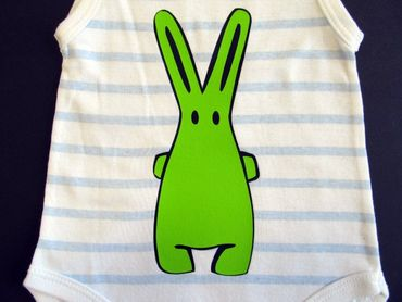 Baby Child Children One-Piece Rompers Oncie Kalle Fux Hand Printed White Blue Hase Green Size56 – Bild 2