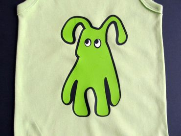 Baby Child Children One-Piece Rompers Oncie Kalle Fux Hand Printed Green Pet Dog Green Size86 – Bild 2