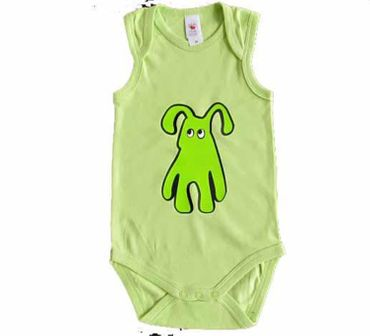 Baby Child Children One-Piece Rompers Oncie Kalle Fux Hand Printed Green Pet Dog Green Size86 – Bild 3