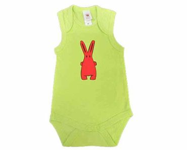 Baby Child Children One-Piece Rompers Oncie Kalle Fux Hand Printed Green Pet Rabbit Red Size68 – Bild 2