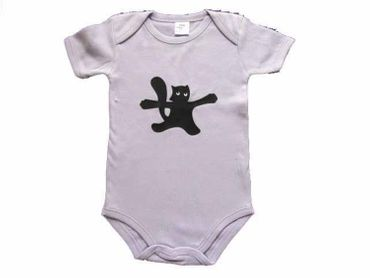 Baby Child Children One-Piece Rompers Oncie Kalle Fux Hand Printed Lilac Pet Cat Black Size74/80 – Bild 2