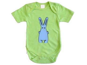 Baby Child Children One-Piece Rompers Oncie Kalle Fux Hand Printed Green Hase Blue Size74 – Bild 1