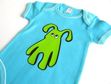 Baby Child Children One-Piece Rompers Oncie Kalle Fux Hand Printed Turquoise Pet Dog Green Size68/74 – Bild 1