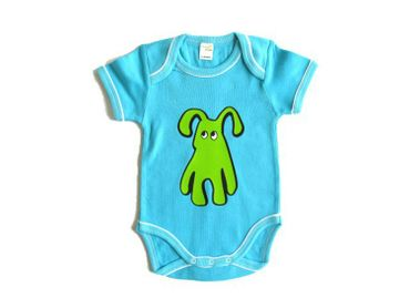 Baby Child Children One-Piece Rompers Oncie Kalle Fux Hand Printed Turquoise Pet Dog Green Size68/74 – Bild 3