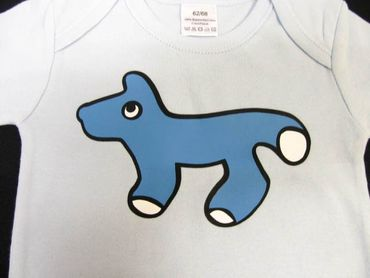 Baby Child Children One-Piece Rompers Oncie Kalle Fux Hand Printed Light Blue Animal Fox Blue Size62/68 – Bild 3