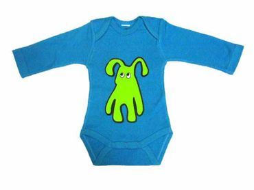 Baby Child Children One-Piece Rompers Oncie Kalle Fux Hand Printed Turquoise Pet Dog Green Size80 – Bild 1
