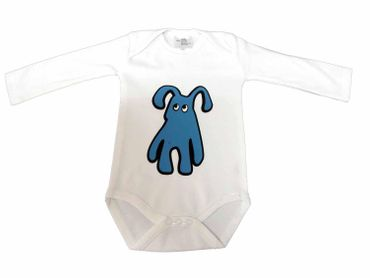 Baby Child Children One-Piece Rompers Oncie Kalle Fux Hand Printed White Pet Dog Blue Size62/68